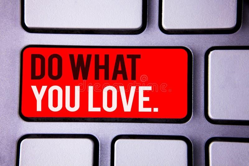 Wortschreibenstext tun, was Sie lieben Geschäftskonzept für positiven auserlesenen weißen Text zwei Desire Happiness Interest Ple vektor abbildung