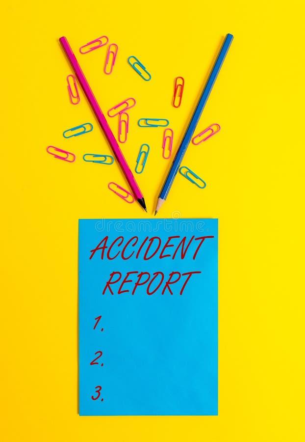 Wortschreibenstext Unfallbericht Gesch?ftskonzept f?r a-Form, die erg?nzte Rekorddetails eines ungew?hnlichen Ereignisses ist lizenzfreies stockfoto