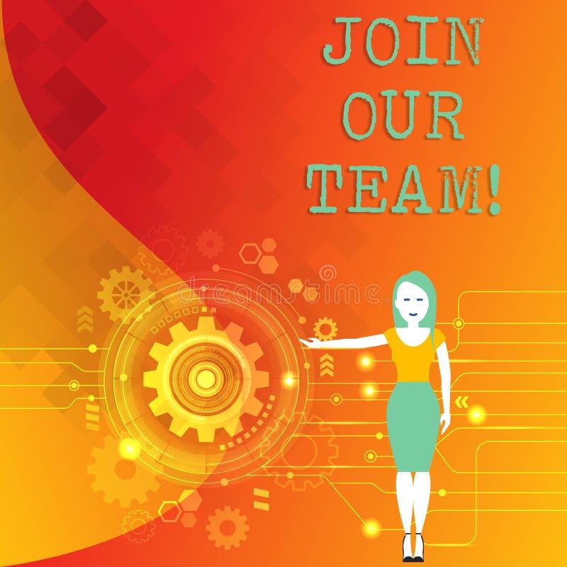 Wortschreibenstext verbinden unser Team Geschäftskonzept für Get über Karriere-Arbeitskräfte Frau der Arbeitslosigkeit verbindene stock abbildung