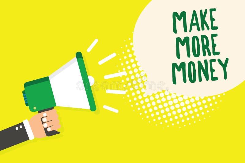 Wortschreibenstext verdienen mehr Geld Geschäftskonzept für Zunahme Ihr Einkommensgehaltsnutzen bearbeiten den härteren Ehrgeiz-M vektor abbildung