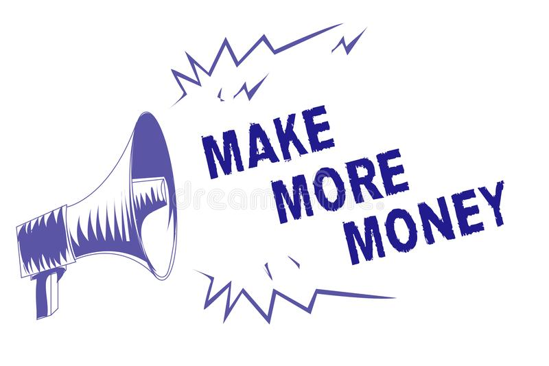 Wortschreibenstext verdienen mehr Geld Geschäftskonzept für Zunahme Ihr Einkommensgehaltsnutzen bearbeiten härteres Ehrgeiz-Purpu lizenzfreie abbildung