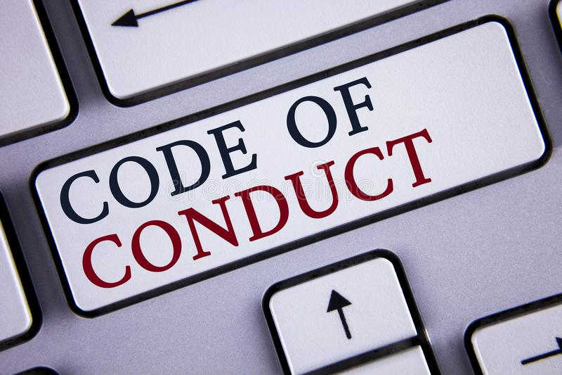 Wortschreibenstext Verhaltenskodex Geschäftskonzept für Follow Prinzipien und Standards für die Geschäftsintegrität geschrieben a stockfoto