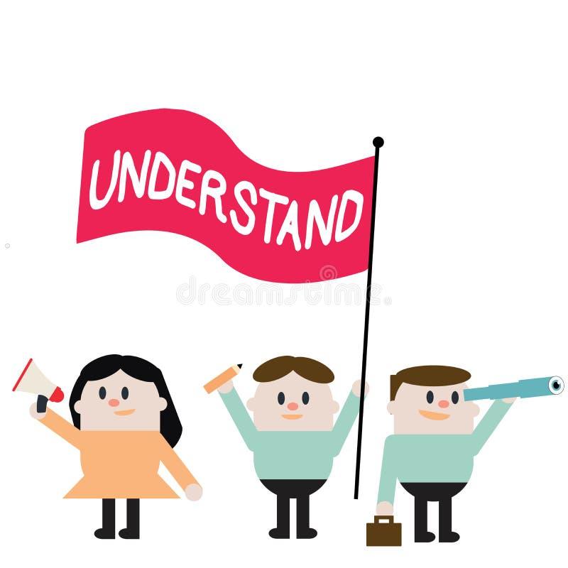 Wortschreibenstext verstehen Geschäftskonzept für Perceive die beabsichtigte Bedeutung von etwas interpretieren Ansicht stock abbildung