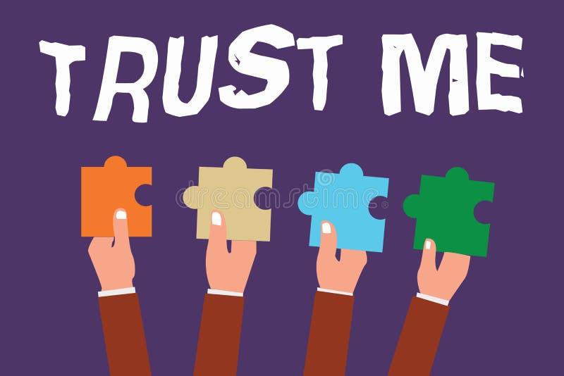Wortschreibenstext vertrauen mir Geschäftskonzept für Believe haben Glauben in anderer zeigender Angebotstützunterstützung lizenzfreie abbildung