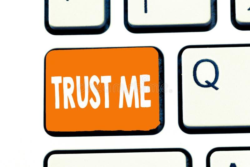 Wortschreibenstext vertrauen mir Geschäftskonzept für Believe haben Glauben in anderer zeigender Angebotstützunterstützung vektor abbildung
