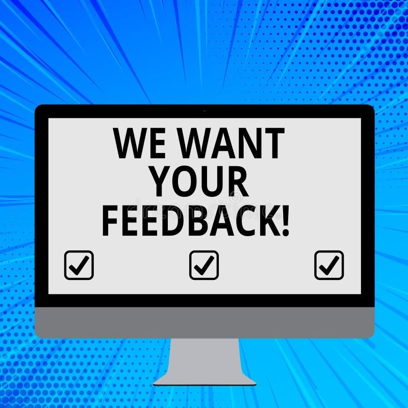Wortschreibenstext wünschen wir Ihr Feedback Geschäftskonzept für die Kritik, die jemand gegeben wird, sagen kann für Verbesserun stock abbildung