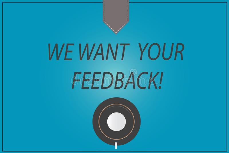 Wortschreibenstext wünschen wir Ihr Feedback Geschäftskonzept für, zum von Perforanalysisce oder von Produkt-fristgerechter Reakt stock abbildung