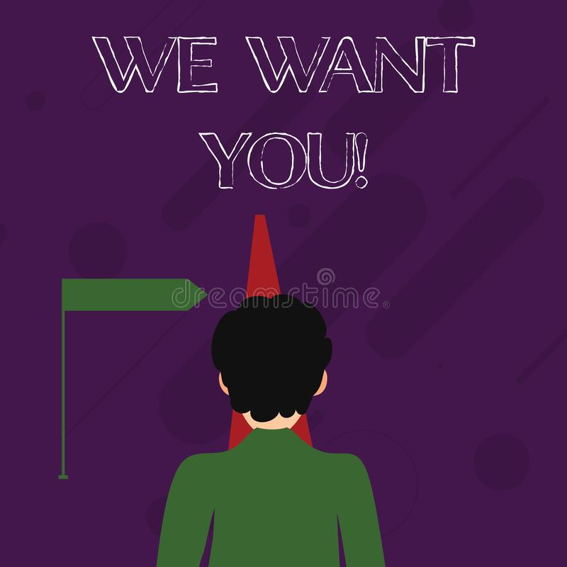 Wortschreibenstext wünschen wir Sie Geschäftskonzept für Angestellt-Hilfe wünschte die Arbeitskraft-Einstellung, die Beschäftigun stock abbildung