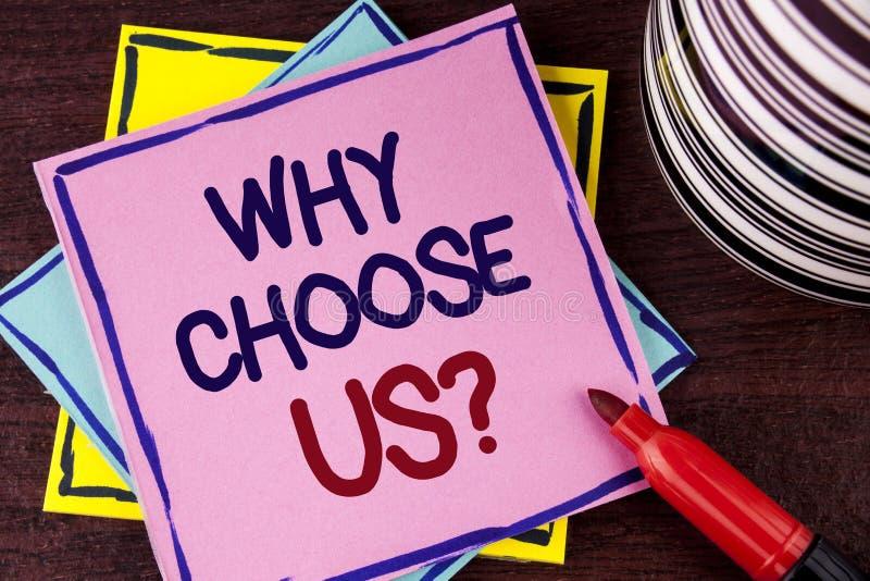 Wortschreibenstext, warum uns Frage wählen Sie Geschäftskonzept aus Gründen, unsere Service-Produkte oder Angebote vorzuwählen ge stockfotografie