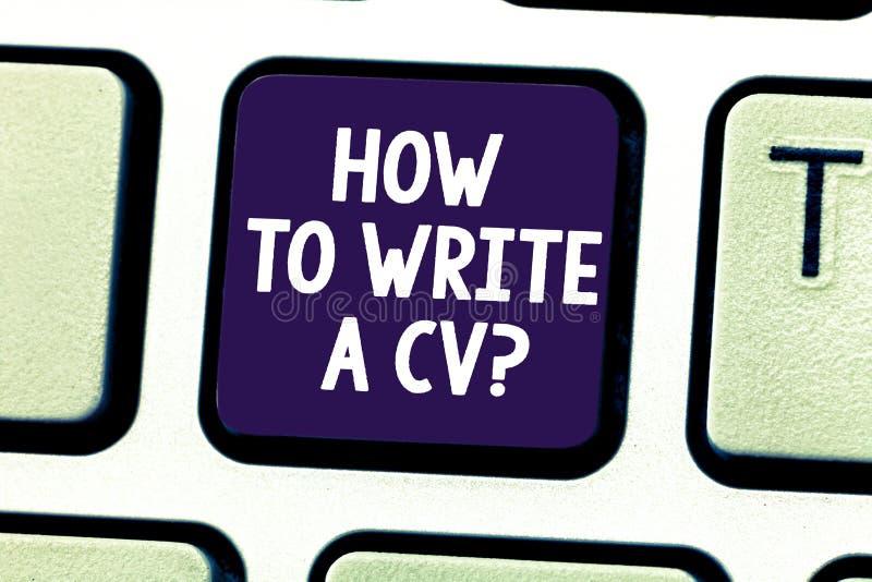 Wortschreibenstext, wie man einen Lebenslauf schreibt Geschäftskonzept, damit Empfehlungen eine gute Zusammenfassung eine Job Tas lizenzfreies stockbild
