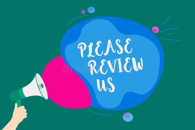 Wortschreibenstext wiederholen uns bitte Geschäftskonzept für Give eine Feedback Meinungs-Kommentar-Servicequalität übermitteln M stock abbildung