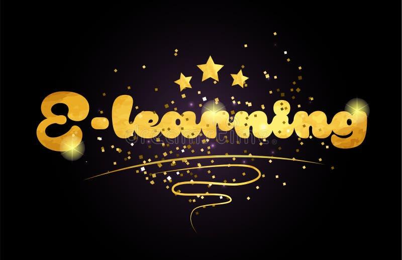 Worttext-Logoikone des E-Learning-Sternes goldene Farb vektor abbildung