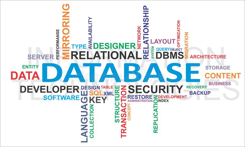 Wortwolke - Datenbank stock abbildung
