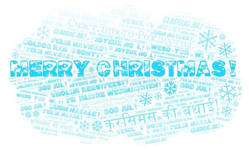 Wortwolke der frohen Weihnachten - frohe Weihnachten auf englischer Sprache und anderen verschiedenen Sprachen vektor abbildung