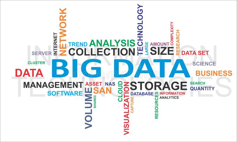 Wortwolke - große Daten stock abbildung