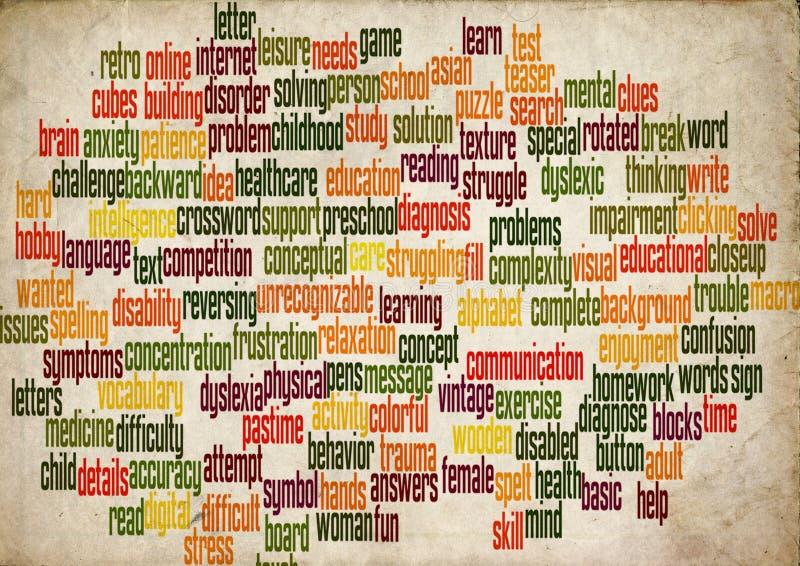 Wortwolken-Dyslexiegehirn stockfoto