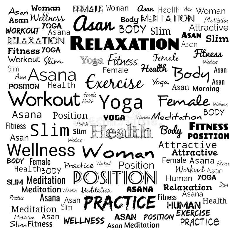 Wortwolken-Konzeptillustration auf Schwarzem, Hintergrund für Webseite, Yogatext für T-Shirt, Yogahintergrund für Webseite lizenzfreie abbildung