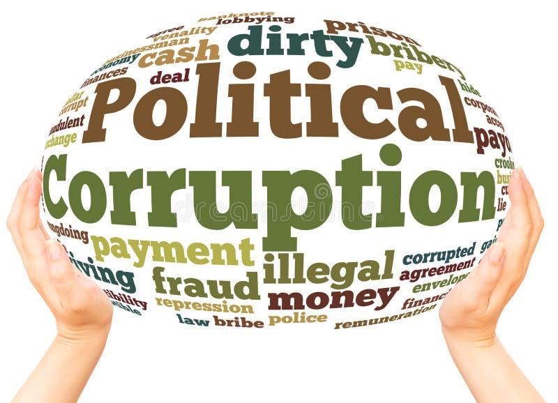 Wortwolkenhandbereichkonzept der politischen Korruption lizenzfreie stockfotografie