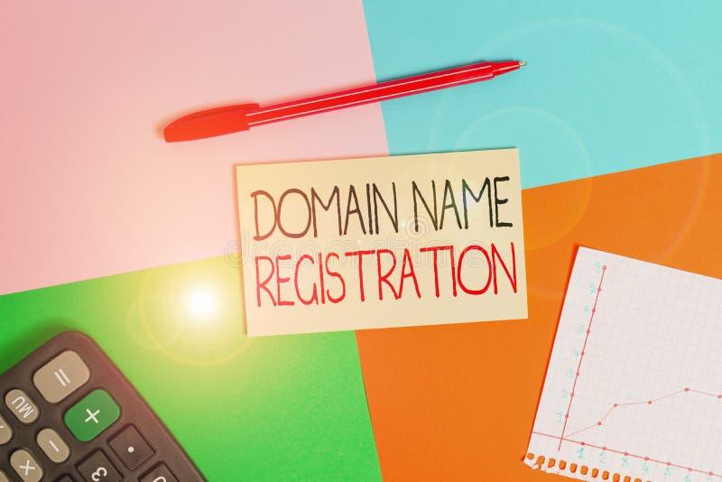 Wortzschreibtext Domänenname Geschäftskonzept für eigene IP-Adresse Identifizieren eines bestimmten Webseitenbüros stockfotografie