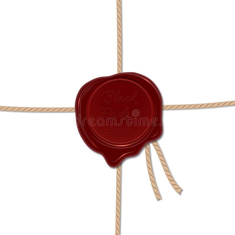 Wosk foki znaczek z Black Friday sprzedaży tekstem Czarny Piątek sprzedaży wektoru szablon ilustracji