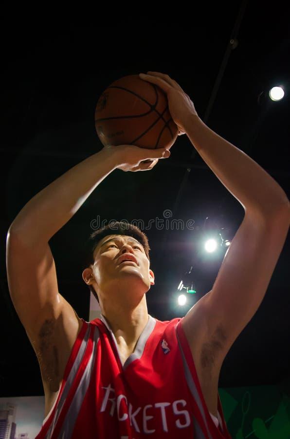 Wosk postać Yao Ming w Madame Tussauds Singapur zdjęcia stock