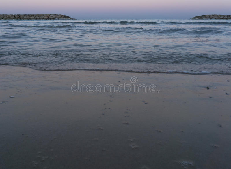 Woter of the Sea in the morning in Herzliya. MorningView of Herzliya`s SeeView at 6am royalty free stock photography
