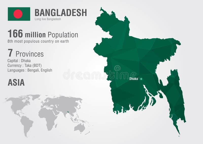 Woth del mapa del mundo de Bangladesh una textura del diamante del pixel stock de ilustración