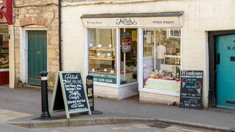 Relish delicatessen on Long Street. Wotton-under-Edge, England - May 10, 2018: Relish delicatessen on Long Street, independent delicatessen in Wotton-under-Edge stock image