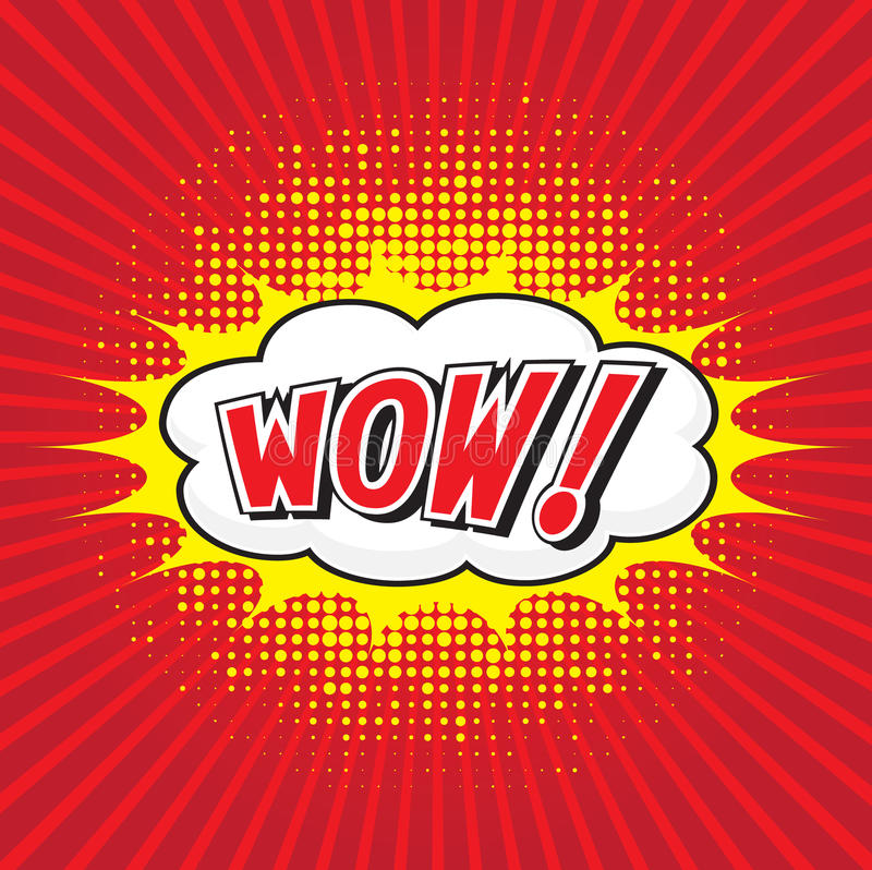 WOUAH ! mot comique photo libre de droits