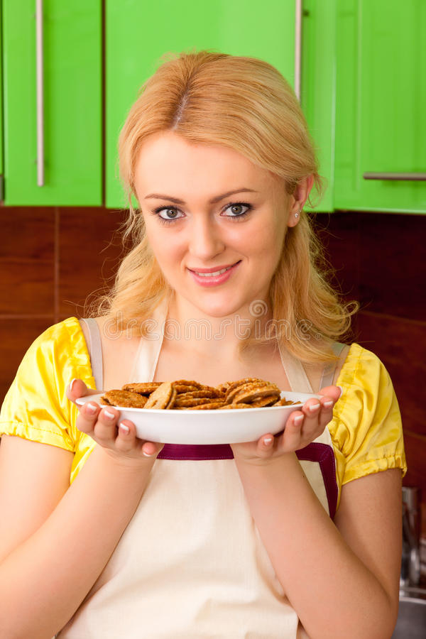 Download Would you like sweets? stock photo. Image of blonde, baking - 24057768