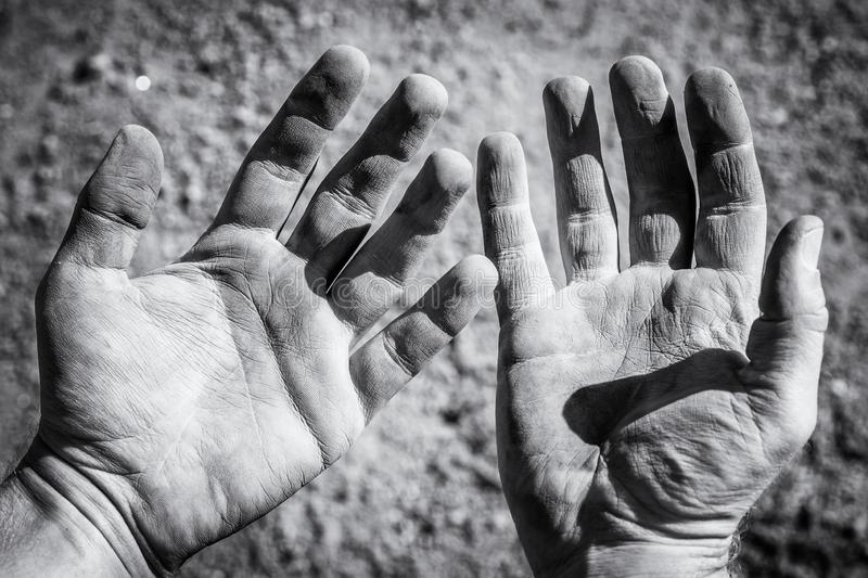 Wounded hands after hard work royalty free stock images