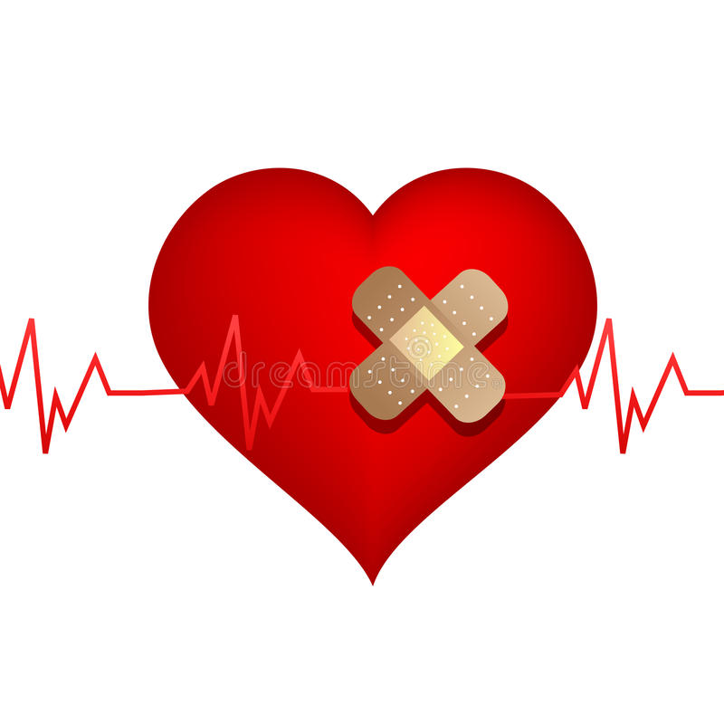 Wounded heart with bandage vector illustration