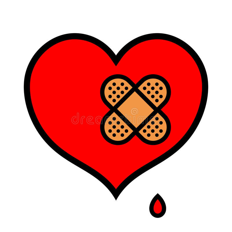 Wounded little heart icon with band aid. Wounded little red symbolic heart icon dripping blood with pair of crossed over bandages over isolated white background vector illustration