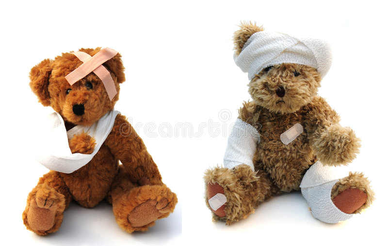 Wounded teddies royalty free stock photography