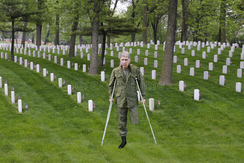 Wounded Warrior Combat Veteran, Soldier Hero, Sacrifice. An army veteran of war stands in a military cemetery where fellow soldiers paid the ultimate price and royalty free stock images