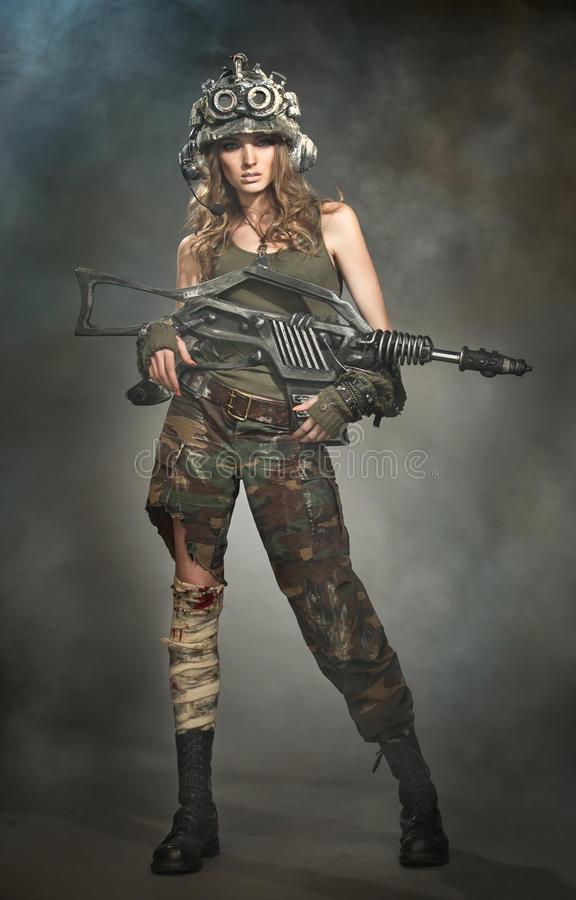 Wounded woman warrior royalty free stock images