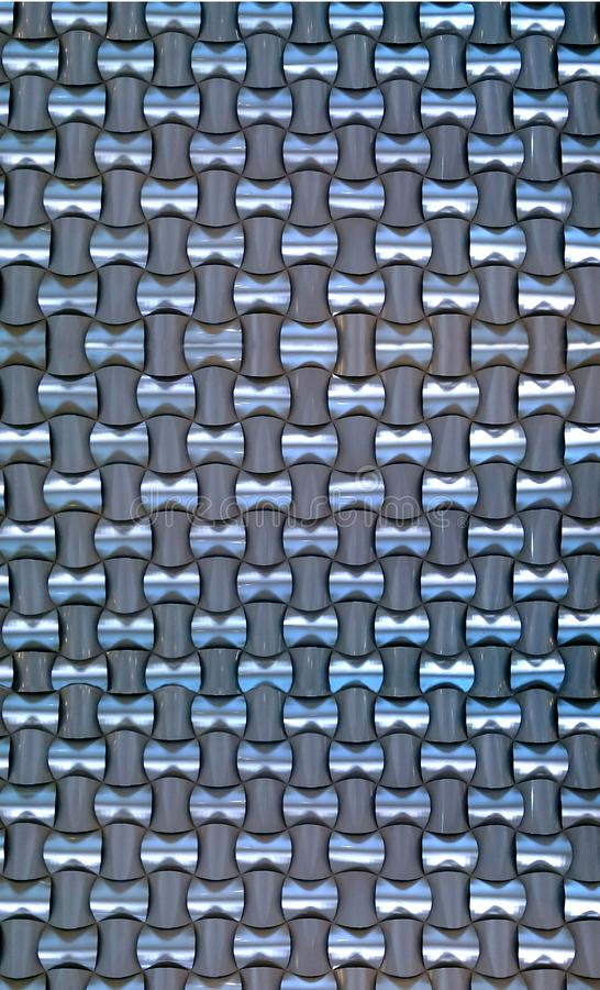 Woven Aluminum Wallpaper. Seamless woven aluminum creates a continuous abstract, modern background of strength and illusion stock images