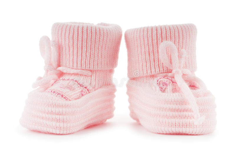 Woven baby shoes isolated on white stock photos