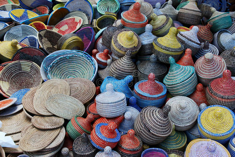 Woven baskets background