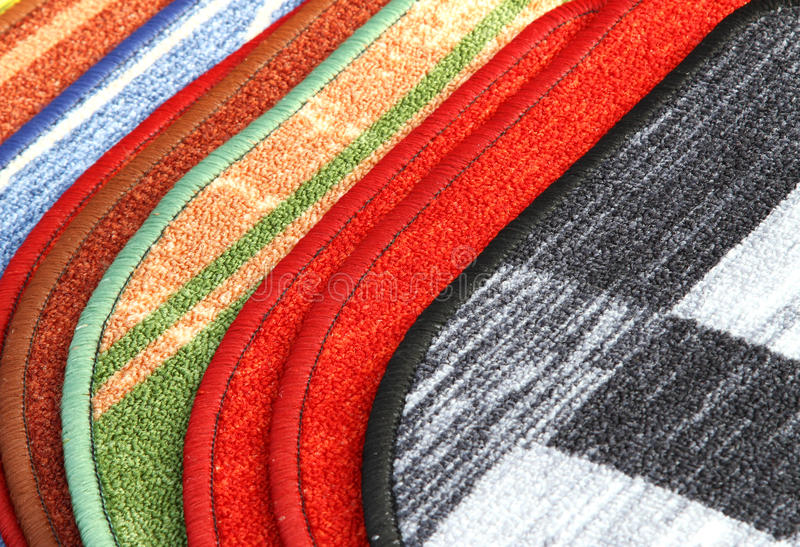 Woven carpets for bathroom. And kitchen royalty free stock photos