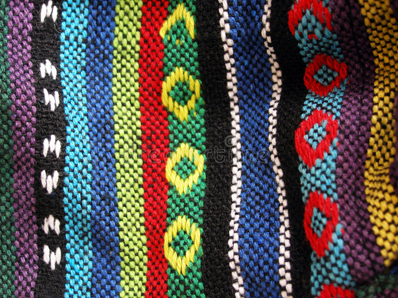 Download Woven Ethnic Fabric, Close Up Stock Photo - Image: 4914866