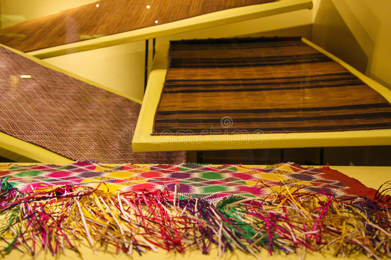 Woven exhibits at a museum stock photo