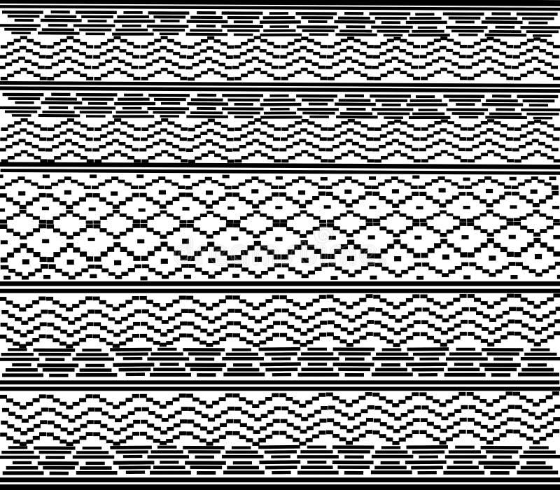 Woven fabric pattern Seamless geometric art white pattern illustration 向量例证