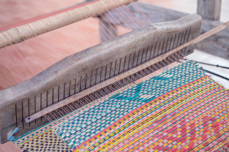 Woven mats handmade from dry reed imbue. Make in thailand stock photography