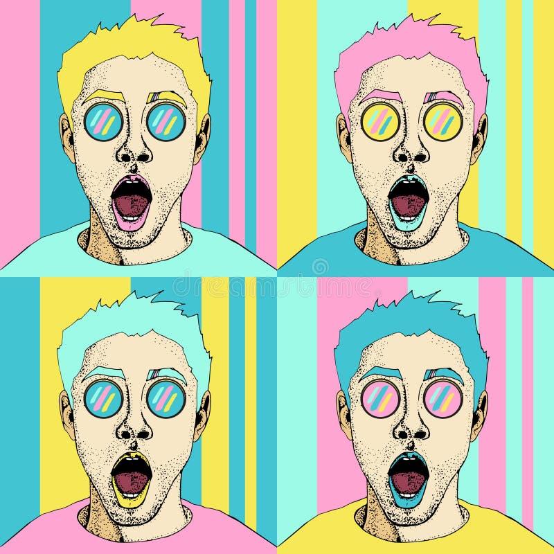 Wow流行艺术男性面孔无缝的样式 有开放嘴的性感的惊奇的人 库存例证