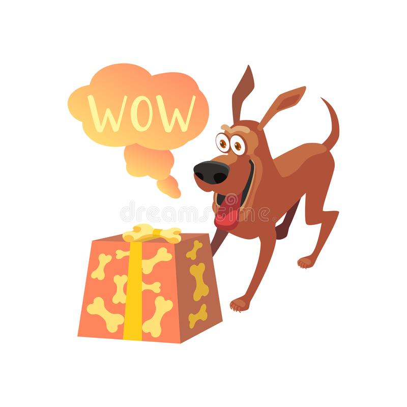 Wow-Ausdruck durch Hund stock abbildung