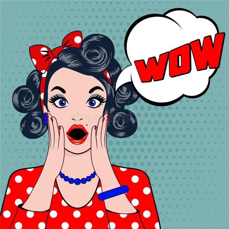 WOW bubble pop art surprised woman face. vector illustration