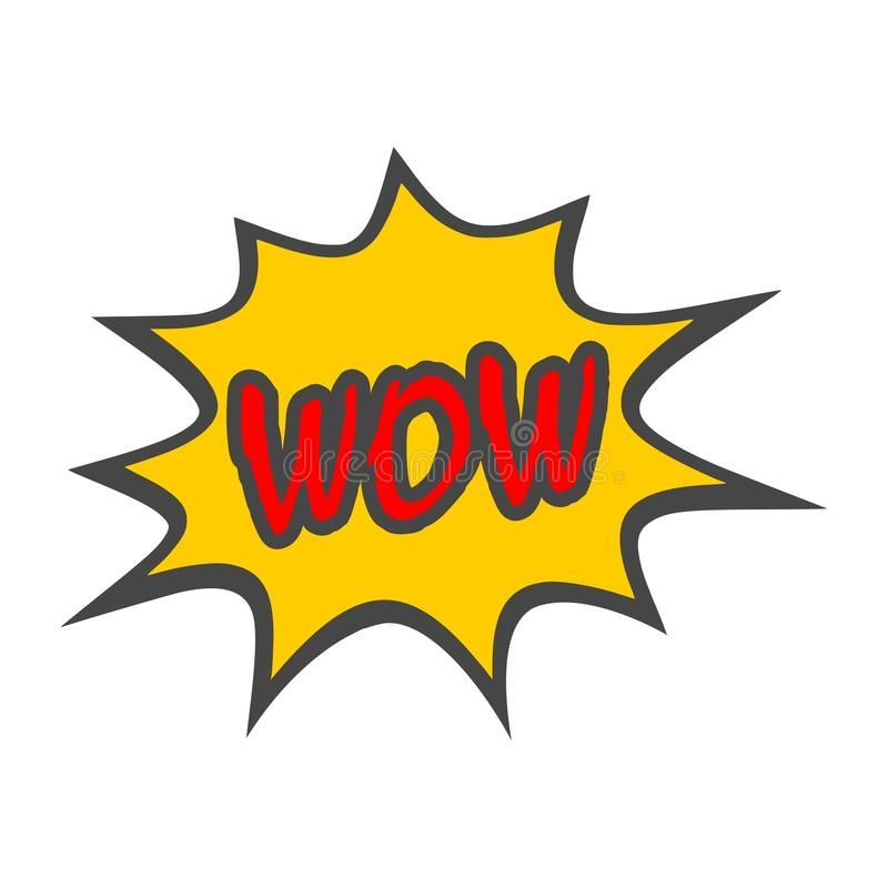 Wow Comic Text icon sign royalty free illustration