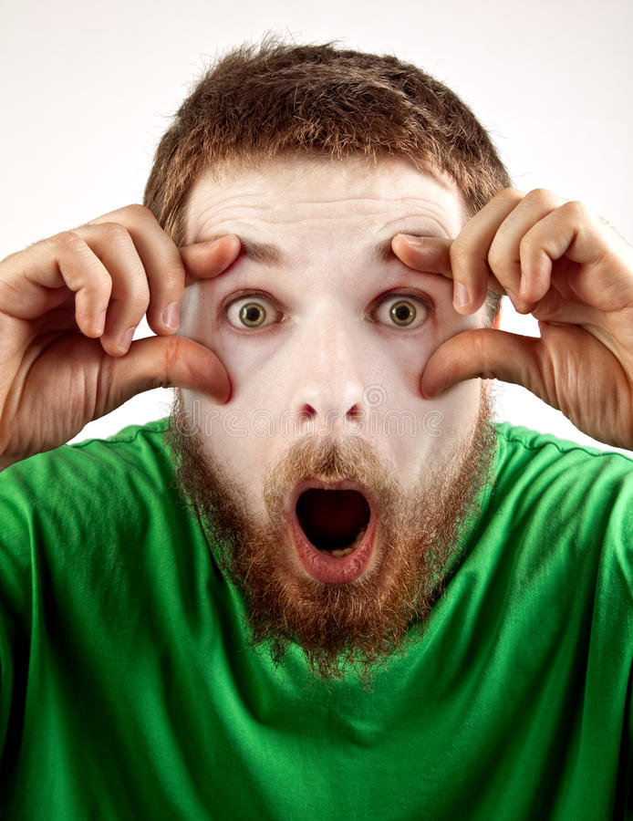 Wow concept - amazed mime looking man stock images