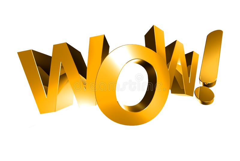 Wow 3d gold. Wow 3d gold,wow white background stock illustration